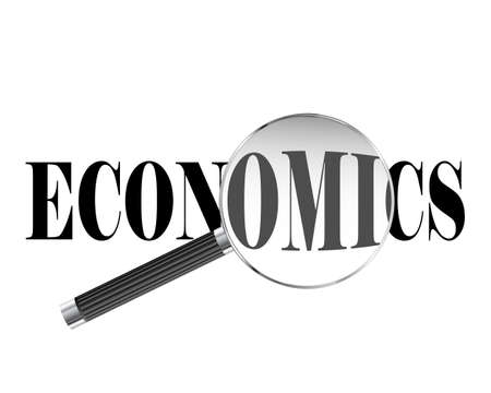 Economics text viewed under magnifying glass illustration