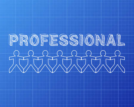 Professional text hand drawn with paper people on blueprint background
