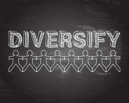 Diversify text hand drawn with paper people on blackboard background