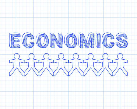 Economics text hand drawn with paper people on graph paper background  Illustration