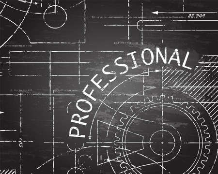 Professional text with gear wheels hand drawn on blackboard technical drawing background