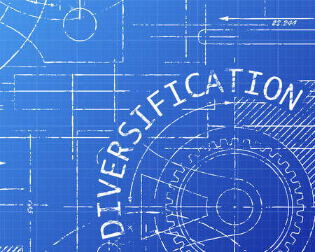 Diversification text with gear wheels hand drawn on blueprint technical drawing background  Illustration