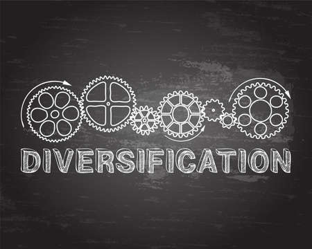 Diversification text with gear wheels hand drawn on blackboard background  Illustration