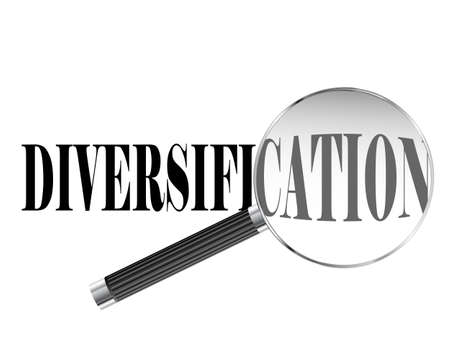 Diversification text viewed under magnifying glass illustration