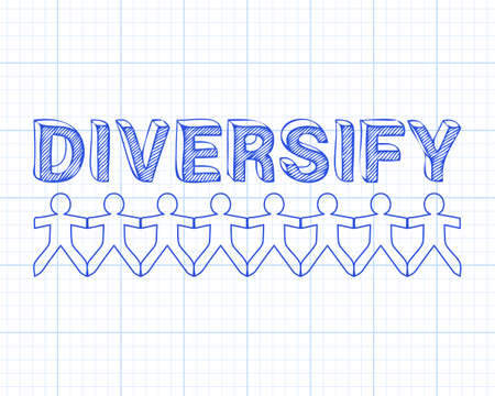 Diversify text hand drawn with paper people on graph paper background Illustration