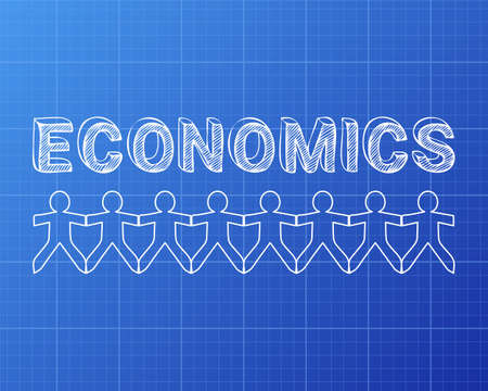 Economics text hand drawn with paper people on blueprint background