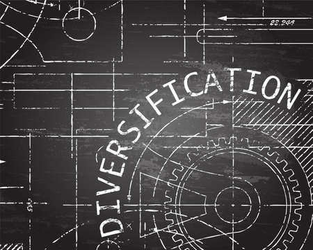 Diversification text with gear wheels hand drawn on blackboard technical drawing background