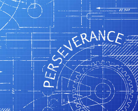 Perseverance text with gear wheels hand drawn on blueprint technical drawing background