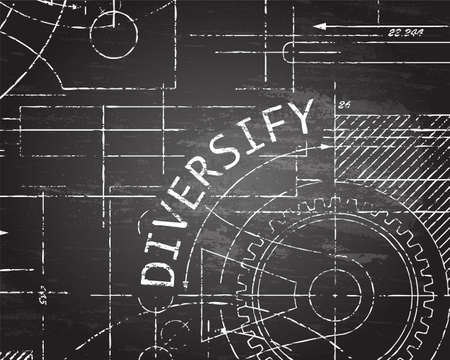 Diversify text with gear wheels hand drawn on blackboard technical drawing background Illustration