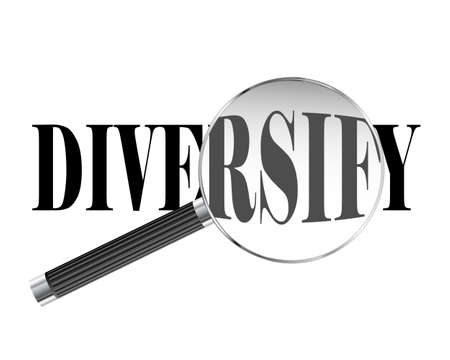 Diversify text viewed under magnifying glass illustration Illustration
