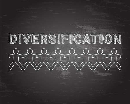 Diversification text hand drawn with paper people on blackboard background
