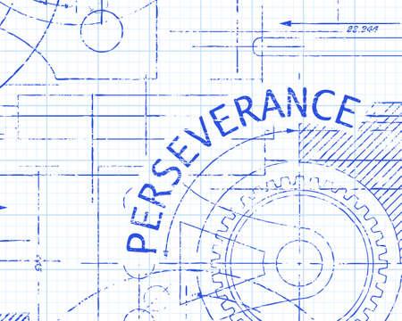 Doorzettingsvermogen tekst met tandwielen hand getrokken op grafiek papier technische tekening achtergrond