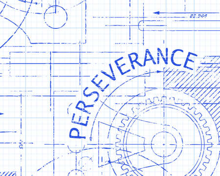 Perseverance text with gear wheels hand drawn on graph paper technical drawing background