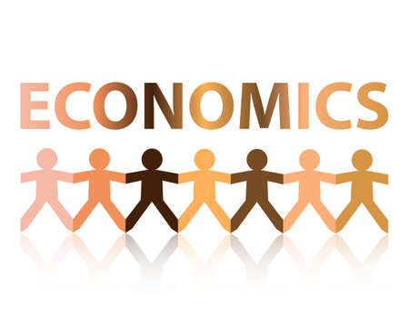 Economics cut out paper people chain in different skin tone colors