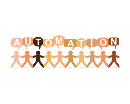 automate: Automation word in speech bubbles with cut out paper people chain in different skin tone colors Illustration