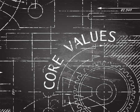 Core values text with gear wheels hand drawn on blackboard technical drawing background Vektorové ilustrace