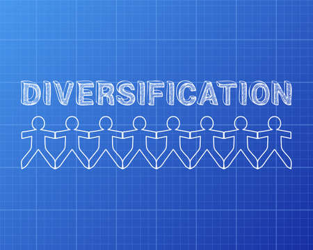 Diversification text hand drawn with paper people on blueprint background
