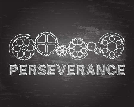Perseverance text with gear wheels hand drawn on blackboard background