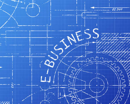 website words: E Business text with gear wheels hand drawn on blueprint technical drawing background Illustration
