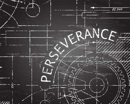 Perseverance text with gear wheels hand drawn on blackboard technical drawing background Illustration