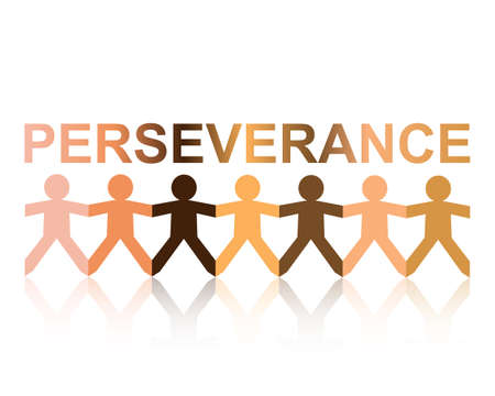 Perseverance cut out paper people chain in different skin tone colors Illustration
