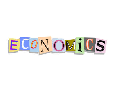 Economics word in torn paper letters text