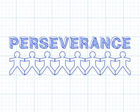 Perseverance tekst hand getekend met papier mensen op grafiek papier achtergrond Stock Illustratie