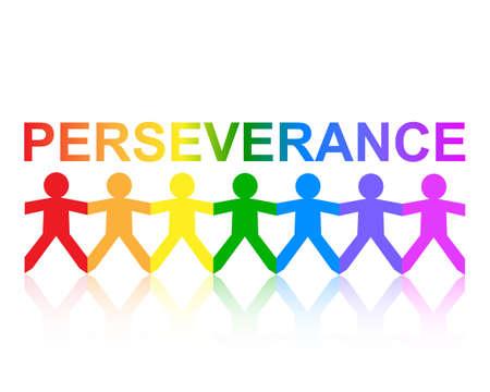 Doorzettingsvermogen snijdt papieren mensenketen in regenboogkleuren uit Stock Illustratie