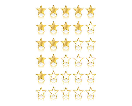 Gold stars ratings from zero to five