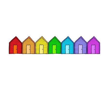 Line of hand drawn beach huts in rainbow colors