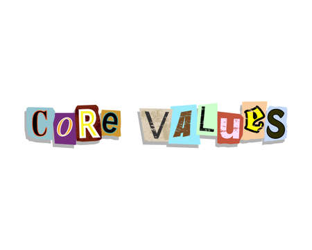 Core values word in torn paper letters text