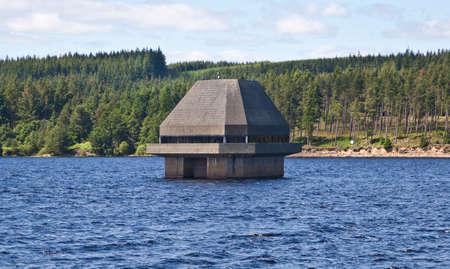 Penstock water inlet at Kielder Reservoir dam  Stok Fotoğraf
