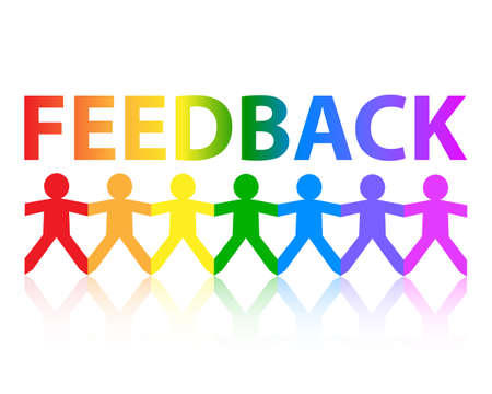 Feedback cut out paper people chain in rainbow colors