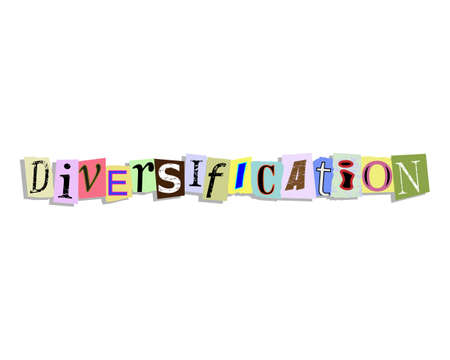 Diversification word in torn paper letters text Illustration