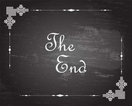 The end text film ending background frame 向量圖像