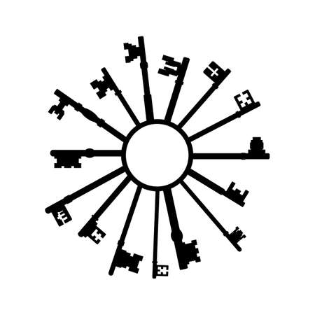 Simple keys in a ring silhouette icon