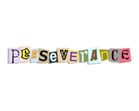 Perseverance word in torn paper letters text Illustration