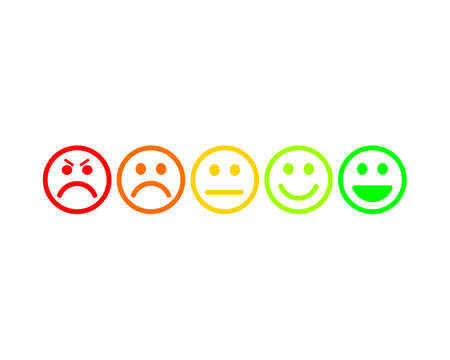 Simple feedback smiley face icons from red to green