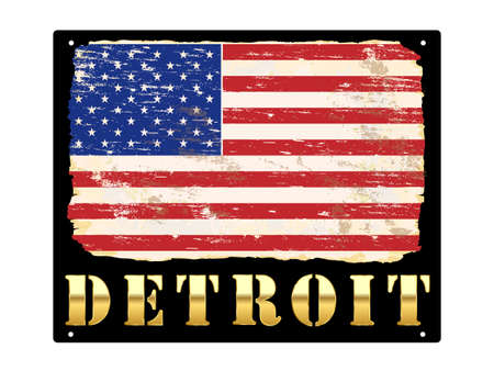 Detroit word in gold with grungy American flag enamel sign