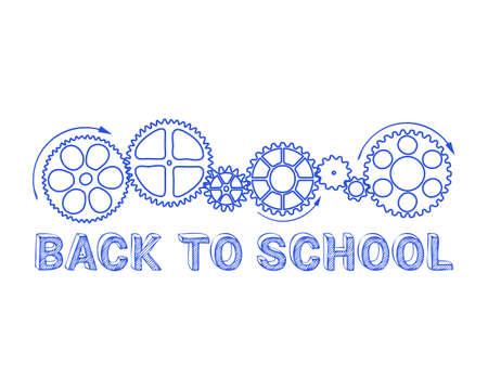 Back to school text with gear wheels hand drawn background Ilustração