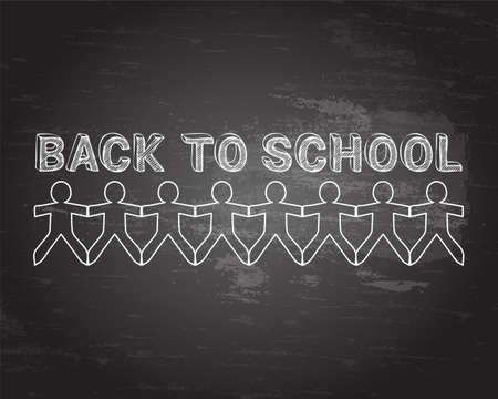Back to school text hand drawn with paper people on blackboard background