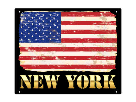 New York in gold with grungy American flag enamel sign