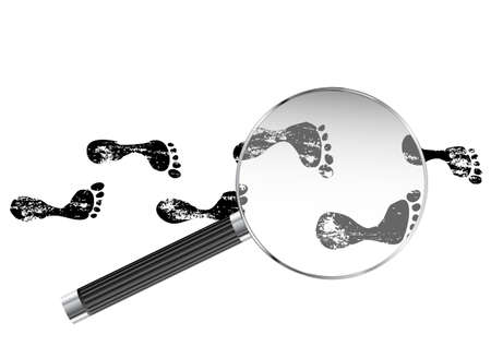 Foot prints viewed under magnifying glass illustration  Illustration