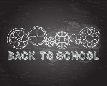 Back to school text with gear wheels hand drawn on blackboard background  Ilustração