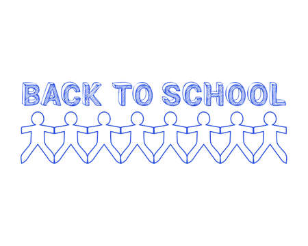 Back to school text hand drawn with paper people  Ilustração
