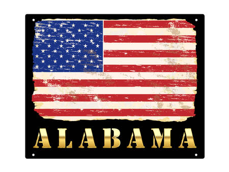 Alabama word in gold with grungy American flag enamel sign Çizim