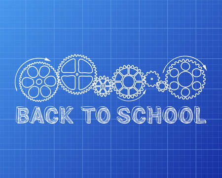Back to school text with gear wheels hand drawn on blueprint background