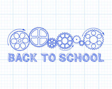 Back to school text with gear wheels hand drawn on graph paper background