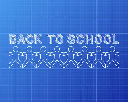 Back to school text hand drawn with paper people on blueprint background Ilustração