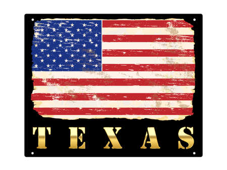 Texas word in gold with grungy American flag enamel sign